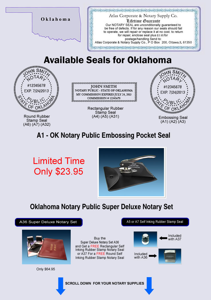 Oklahoma Notary Seals Notary Stamps Notary Supplies