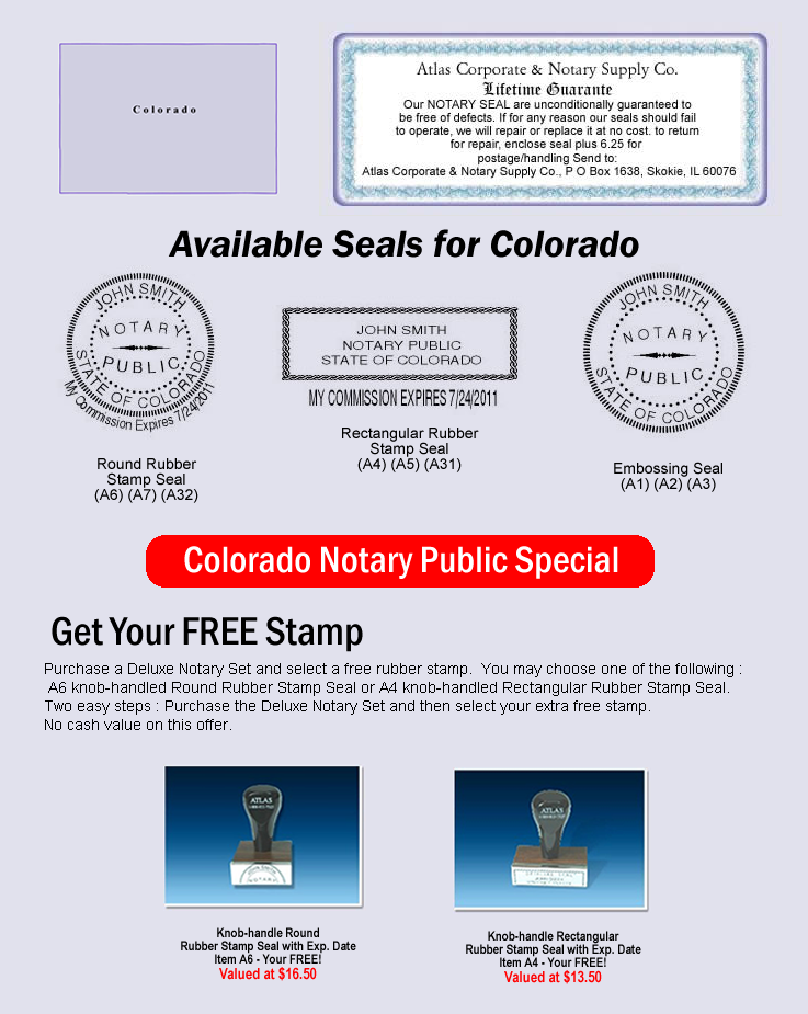 Click Here To Shop Online For Colorado Notary Seals