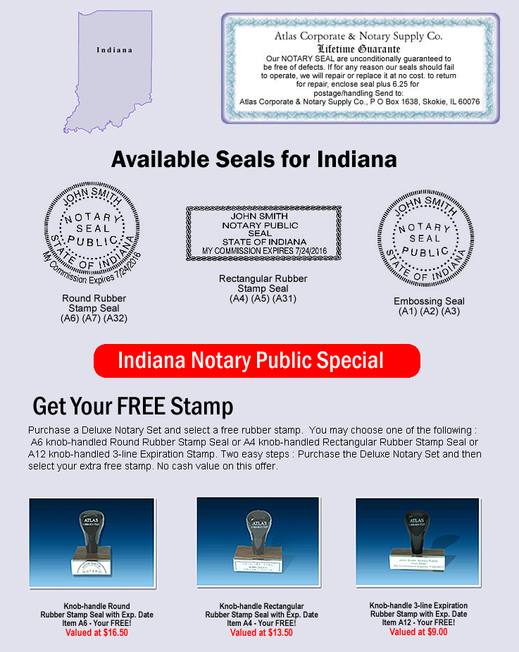 Indiana Notary Seal Seals Supplies Public Accessories Supply