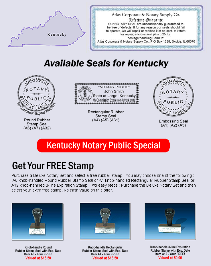Click Here To Online For Kentucky Notary Seals