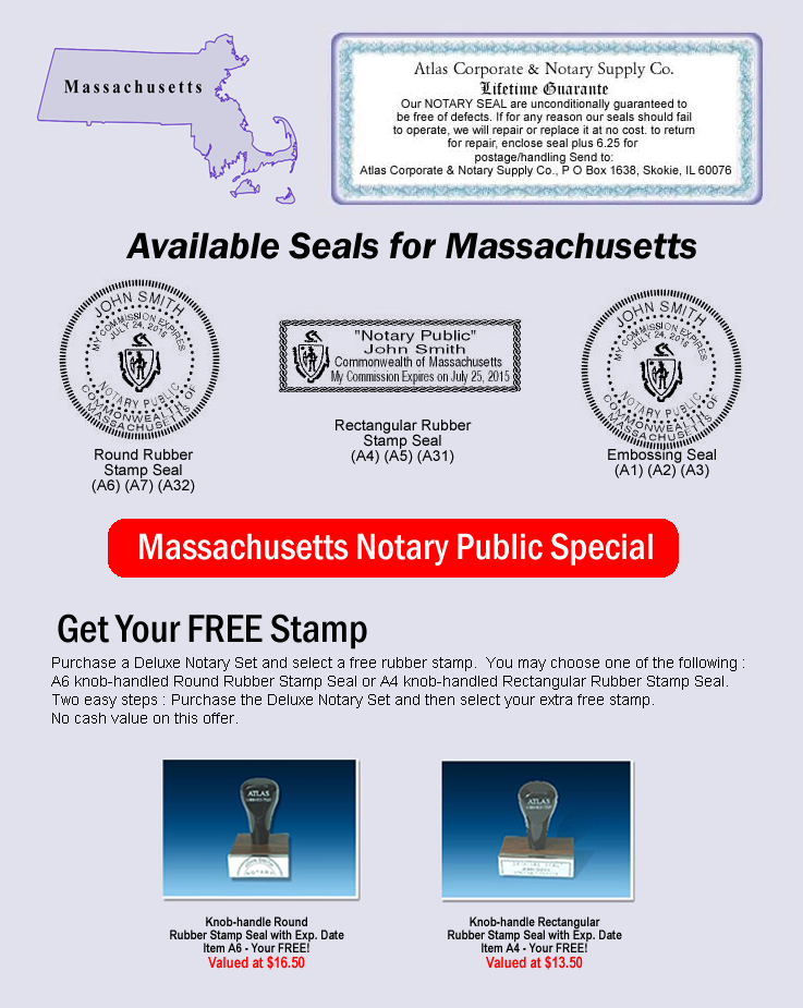 Click Here To Shop Online For Massachusetts Notary Seals