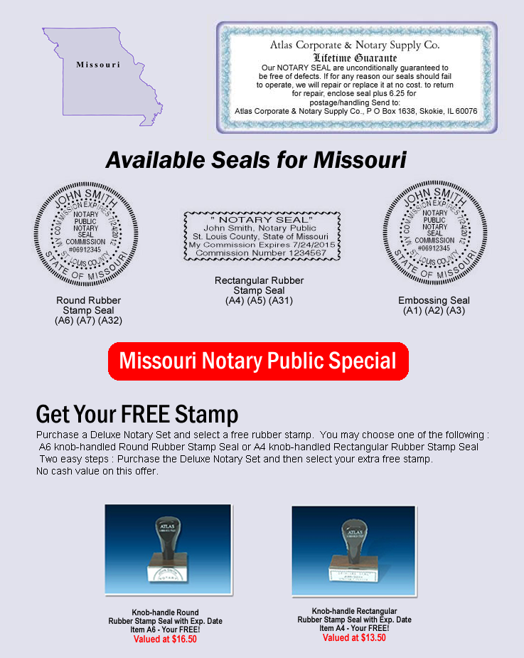 Click Here To Shop Online For Missouri Notary Seals