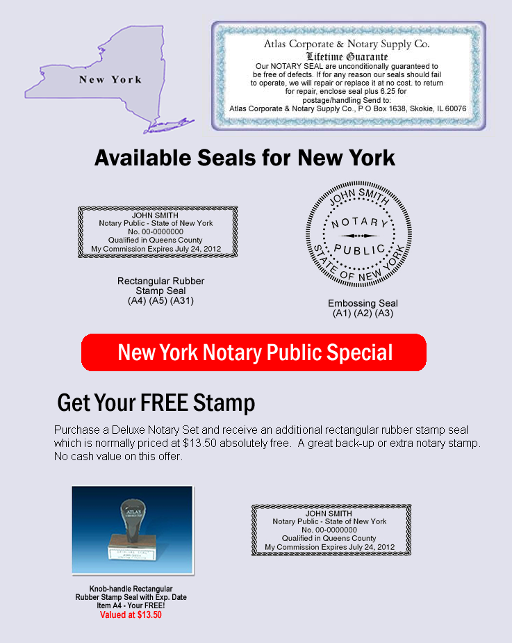 Click Here To Shop Online For New York Notary Seals