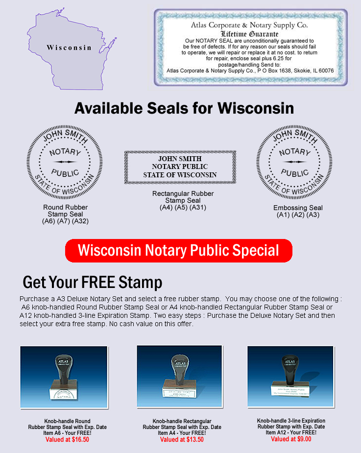 Click Here To Shop Online For Wisconsin Notary Seals
